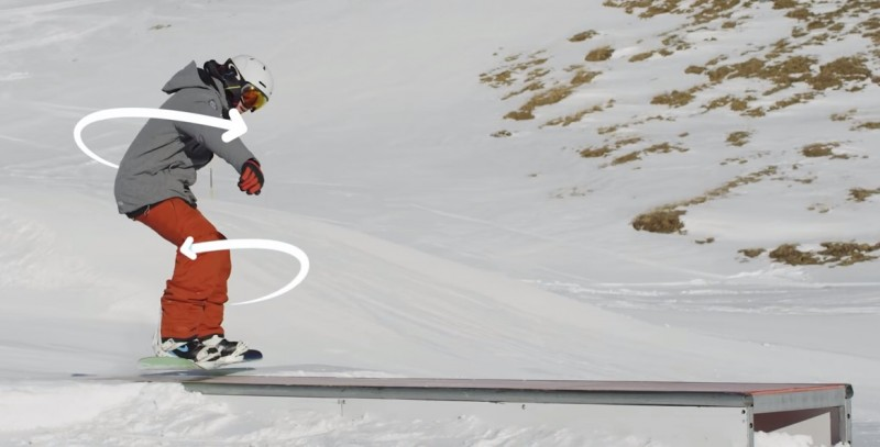 snowboard freestyle - board slide - contre rotation