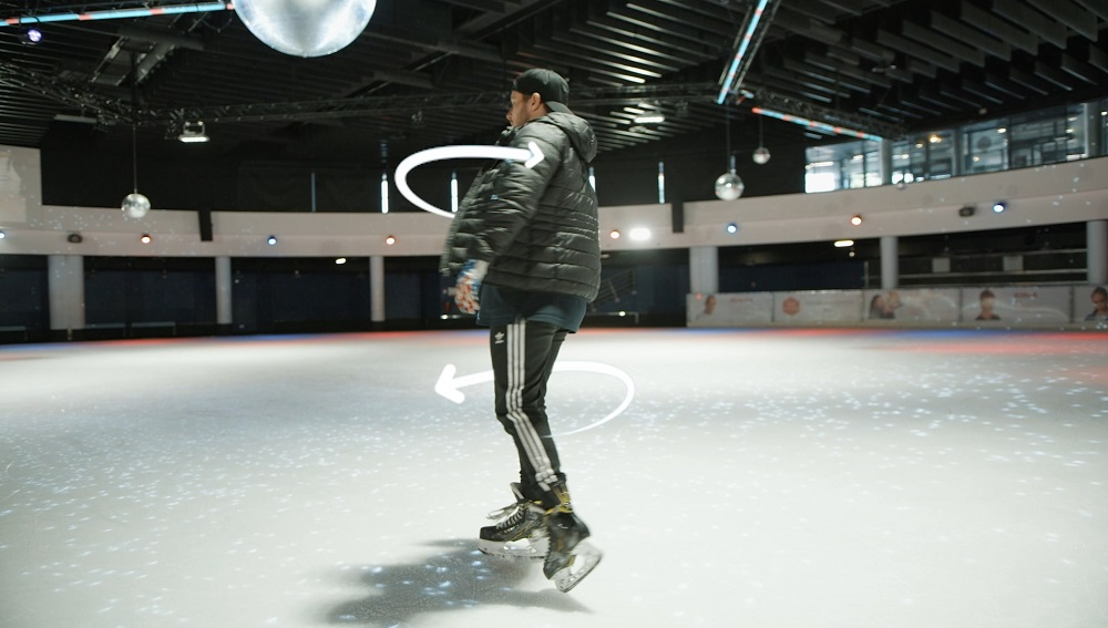 rotation freestyle patin a glace